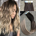 Full Shine Brazilian Human Hair Extensions Glue in Tape Hair Balayage Color 2 Dark Brown Fading to 8 and 613 Blonde Ombre Hair
