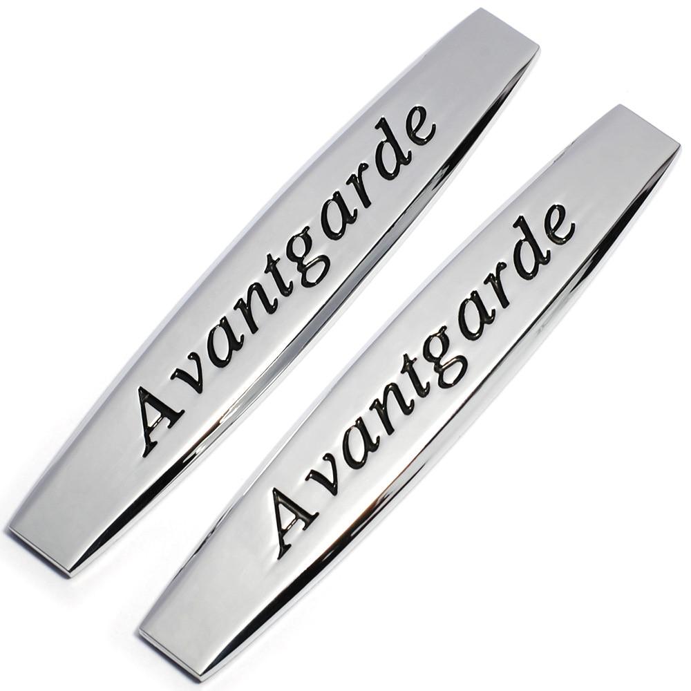 2pcs Metal Avantgarde Car Fender Side Emblem Badge Decal Rear Bumper Trunk Sticker For Mercedes-benz Mercedes Benz Car Styling