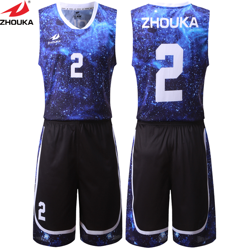 Sky Pattern Digital Sublimation Printing Basketball Suit Customized Professional Basketball ...