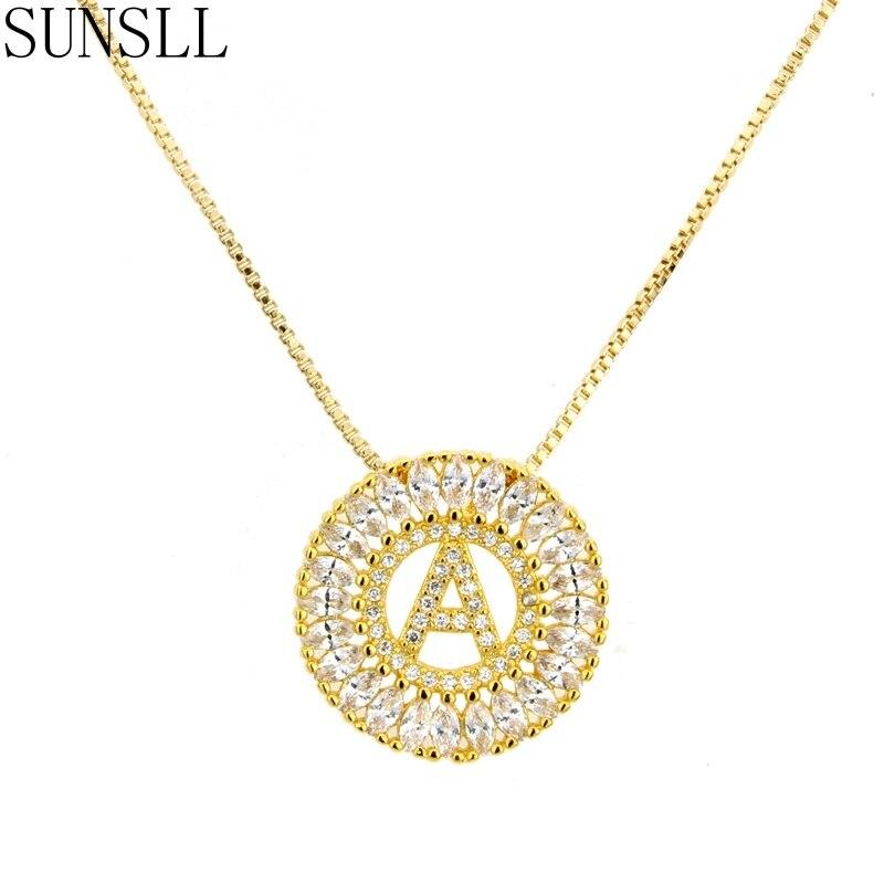 Sunsll cor dourada cobre zircônia cúbica A-Z 26 carta colar moda feminina jóias cz colar feminino presente
