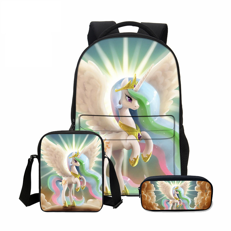 VEEVANV Children Backpack Boys Shoulder Bag New 3 PCS/SET 3D Unicorn Printing Backpack School Bag Cool Cortoon Bookbag Fashion hynes eagle 3 pcs set 3d letter bookbag boys backpacks school bags children shoulder bag mochila girls exo printing backpack