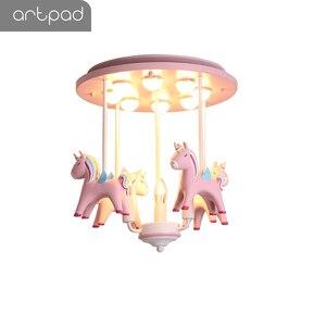 Image 3 - Artpad 素敵な王女樹脂ポニーピンクシーリングライト子供少女の子供ルーム天井ランプ装飾寝室幼稚園ねえや