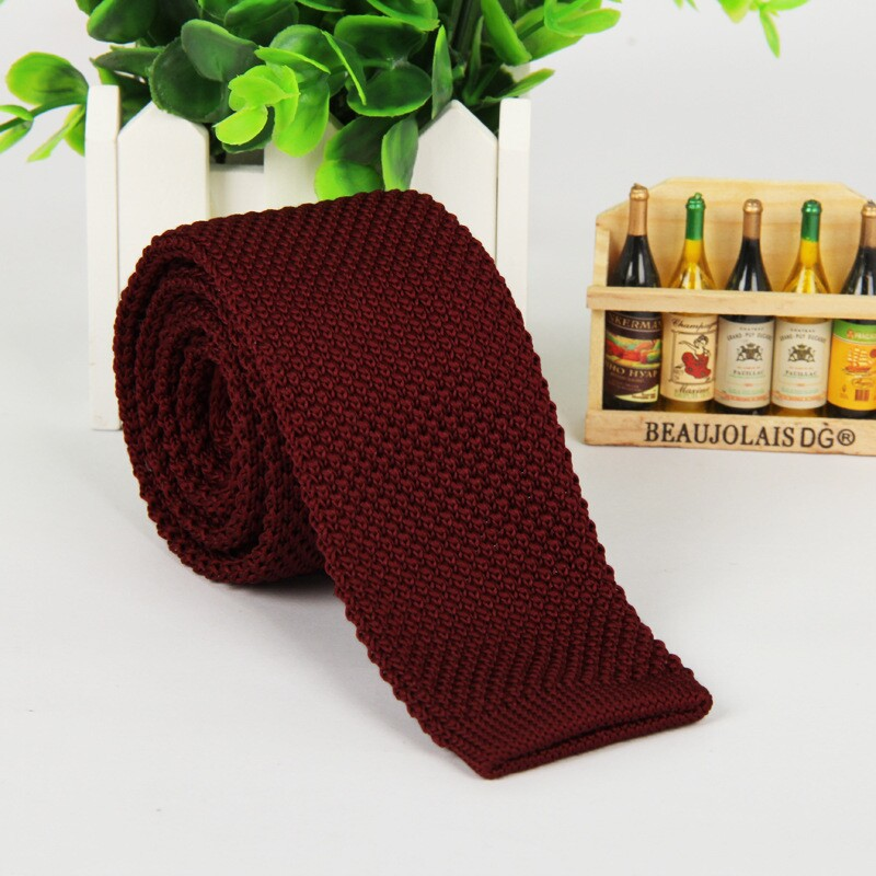 5.5 Cm Wine Red Tie Knit Knitted Necktie Narrow Slim Skinny Men High Fashion 2016