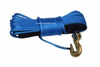 Blue 3 16 50ft ATV Winch Line With Hook 12 Strand Synthetic Winch Rope Kevlar Rope