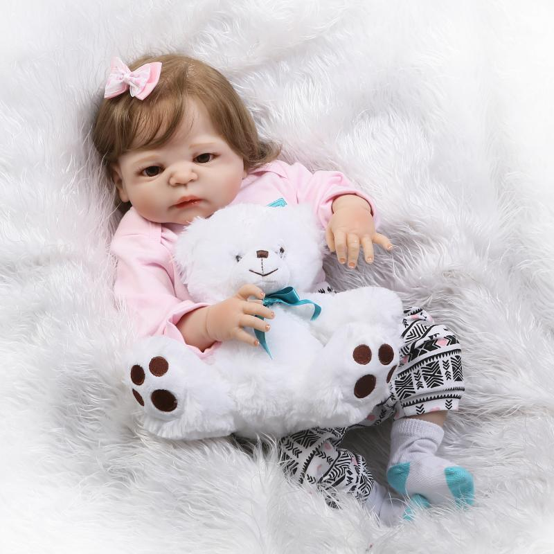 57cm Real full body silicone reborn victoria baby dolls newborn girl fiber hair with bear toy children Gift bebe bonecas real full body silicone reborn baby dolls toys 22 newborn girl wig blond hair magnetic pacifier children gift bonecas