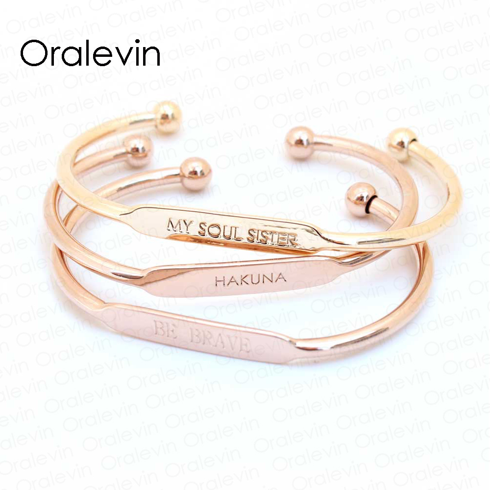 Custom Name Personalized Positive Inspirational Quote Cuff Bracelet For  Women Gift Engraved With Any Name 55mm