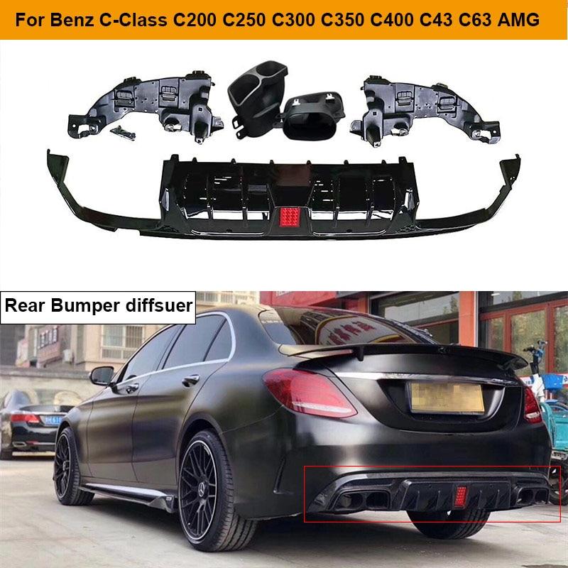 Rear Bumper Diffuser Lip Spoiler with Exhaust Tips for Mercedes Benz C Class W205 C200 C250 C300 C350 C400 C43 C63 AMG 14 19