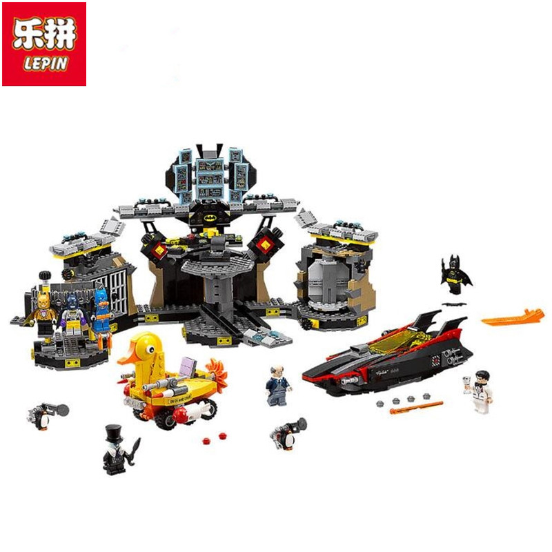 Lepin 07052 1047Pcs Genuine Batman Movie Series 70909 Bat cave Break-in Building Blocks Bricks Education Toys lepin 07052 1047pcs batcave break in set the genuine model movie building blocks bricks educational toys for children 70909