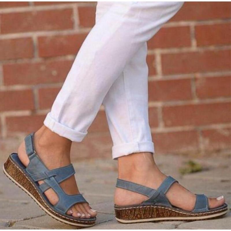 Retro Shoes Sandals Platform Pu-Buckle-Strap Open-Toe Ladies Wedges Female Women Gladiator