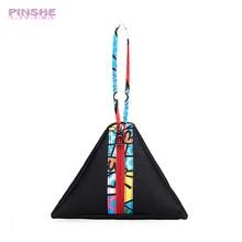 Фотография PINSHE Fashion Retro Stitching Stripes Triangle Dumplings Wrist Women Mini Leather Tote Bag Casual Cosmetic key Bag Women