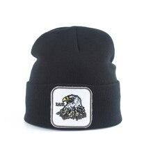 Winter Knitted Beanie Cap Embroidery Eagle Streetwear Hip Hop Men Women Hat Warm Hats Black Gray Skullies Outdoor Ski Caps