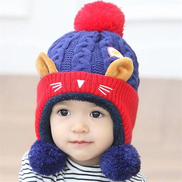 Baru lahir Bayi perempuan Anak Laki-laki Topi Rajutan kucing gaya topi Bayi  Melindungi Telinga 7e46f5a044