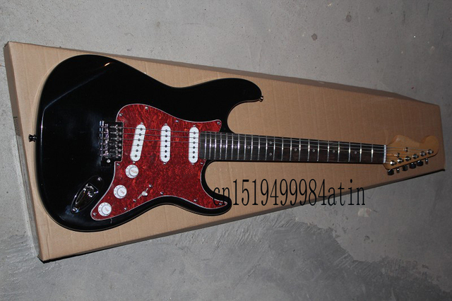 US $186 7 |Custom Guitar F SSS black Red Pickguard 6 Strings natural Wood  Stratocaster Electric Guitar-in Guitar from Sports & Entertainment on