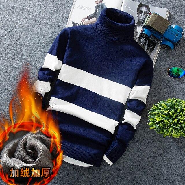 Suéter de Navidad 2018 nuevo invierno gruesa caliente suéteres de lana  cuello alto ajuste Delgado hecho 5ad52377fde0