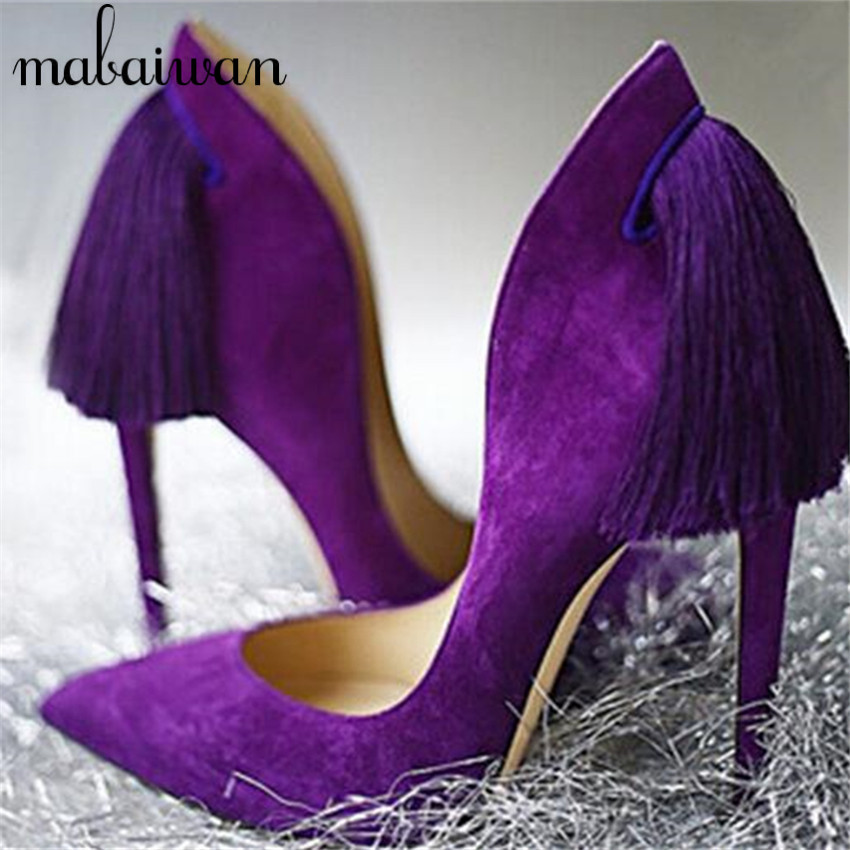 Royal Purple Back Fringe Women Pumps Sexy High Heels Tassels Wedding Dress Shoes Woman Pointed Toe Zapatos Mujer Big Size