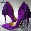 Royal Purple Volver Fringe Mujeres Bombas Sexy Tacones Altos Vestido de Las Borlas de La Boda Zapatos Mujer Punta estrecha Zapatos Mujer Tamaño Grande