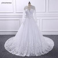 YiWuMenSa Vestidos De Novias Sexy See Through Wedding Dress 2017 Long Sleeves Bridal Wedding Gowns Long