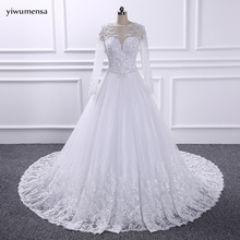 YiWuMenSa vestidos de novias Sexy see through wedding dress 2017 Long Sleeves Bridal Wedding gowns Long Train Ball gown dresses