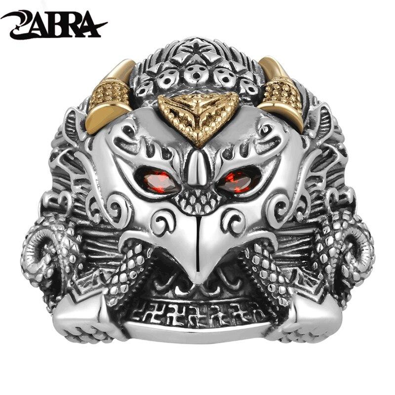 ZABRA Buddha Garuda Real 925 Sterling Silver Rings Myth Bird Red Cubic Zirconia Eye Golden Ring