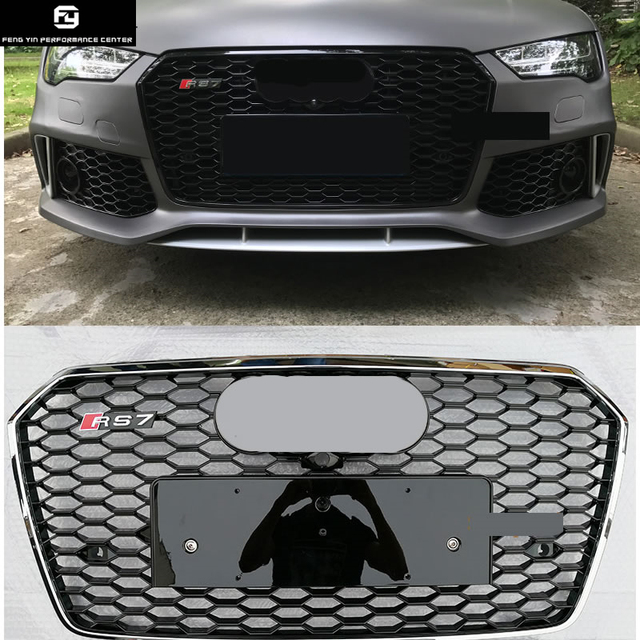 All Black A7 Rs7 Style Racing Grills Chrome Frame Abs Car Front
