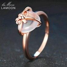 LAMOON 925 srebro pierścionek z kamieniem Rose Quartz 18K różowe złoto Fine Jewelry serce z kokardą obrączka LMRI051