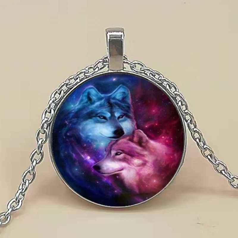 Vòng cổ Tinh Vân Wolf Ảnh Tây Tạng Bạc Cabochon Kính Mặt Dây Chuyền Chuỗi Vòng Cổ