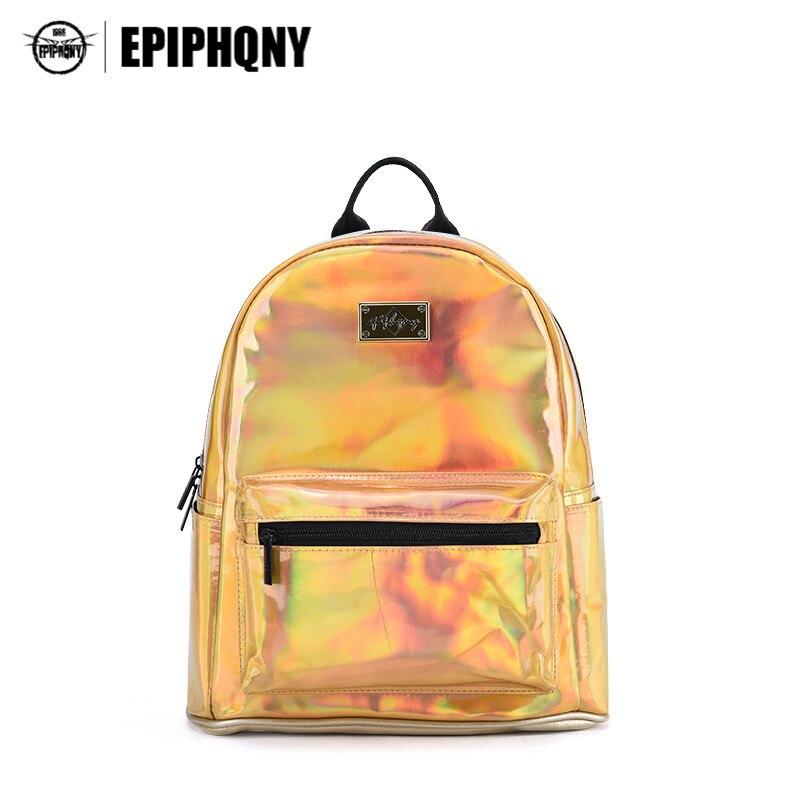 Epiphqny Brand Bling Small Backpack for Teenager Girl Bagpack Holographic Gold Designer Backpacks Female PU Leather