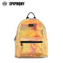 Epiphqny Marke Bling Kleinen Rucksack für Teenager Mädchen Bagpack Holographische Gold Designer Rucksäcke Weibliche PU Leder Mochilas