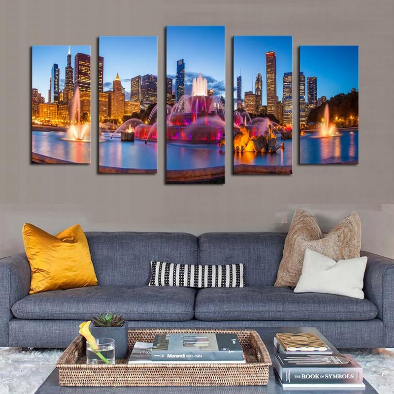 Moderno Chicago nightscape lienzo pinturas alta calidad Ciudad de La ...