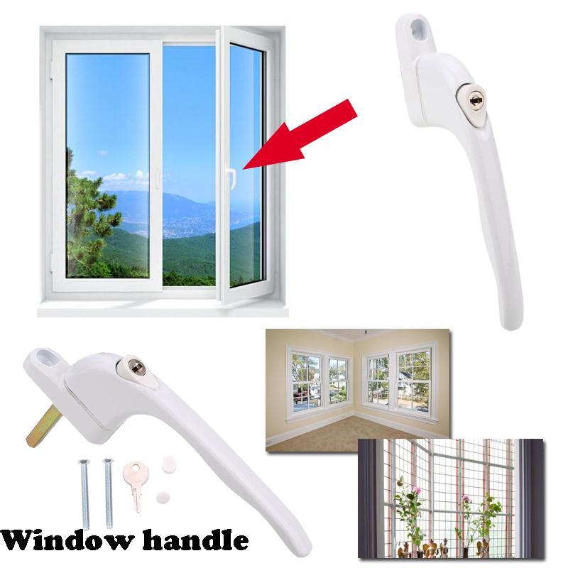 Hell Weiß Fenster Griff Mit Schlüssel Upvc Universal Fenster Lock Griff Hebel Fenster Griff Pull Locking Aluminium Legierung Weiß Home Sicherheit GläNzend
