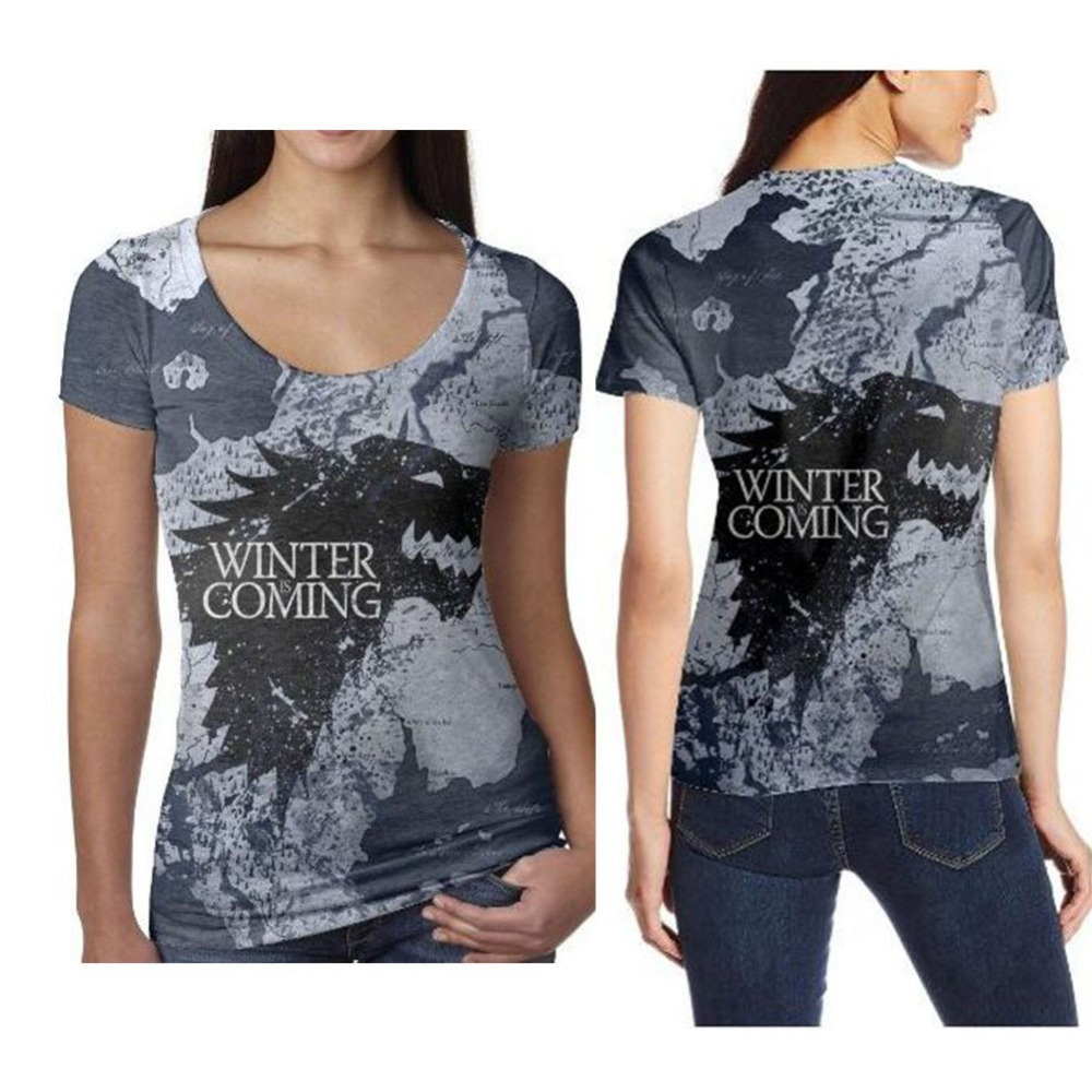 9c9c182e Game of Thrones Printed T Shirts Women Harajuku Sexy 3d T-shirts Women  Vintage Fashion Short Sleeve Shirts