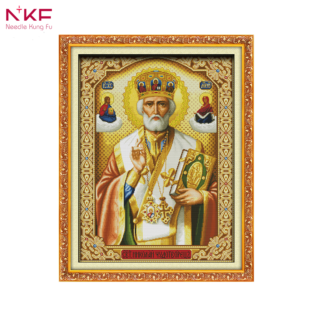 NKF R242 14CT 11CT Counted and Stamped Pope Cross Stitch kits Embroidery Needlework Sets