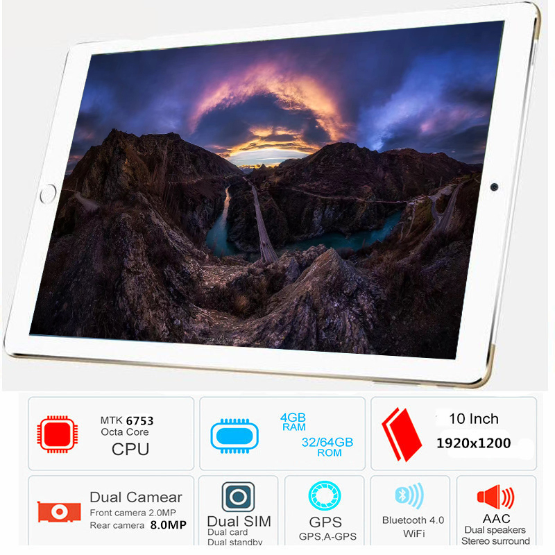 Free Shipping Original 10.1 Inch 4G LTE FDD Phone Tablet PC 10 Core RAM 4GB ROM 64GB 1920*1200 IPS Dual SIM Card Tablets Pcs