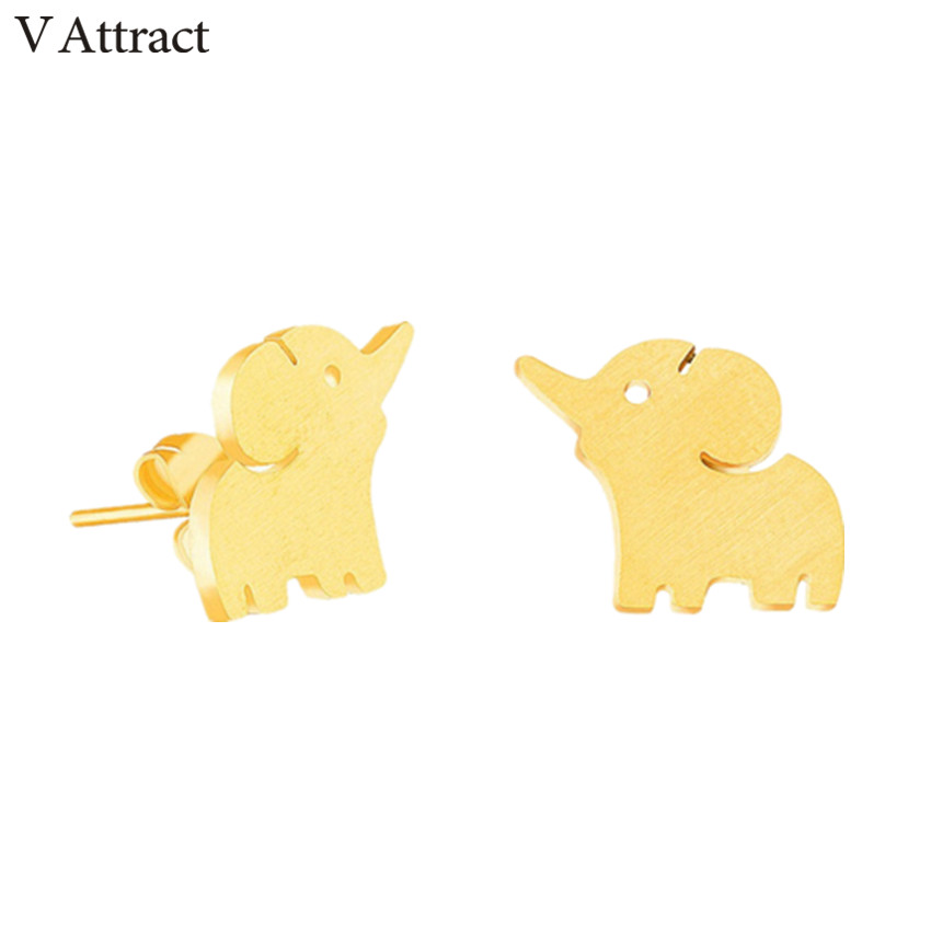 V Attract Cute Baby Elephant Post Earrings For Women and Men Stainless Steel Luck Animal Jewelry Boucles Doreilles