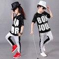 Conjuntos de Roupas Meninos Meninas crianças Desempenho Hip Hop Jazz Dança Moderna Trajes Crianças Trajes de Lantejoulas Dancewear