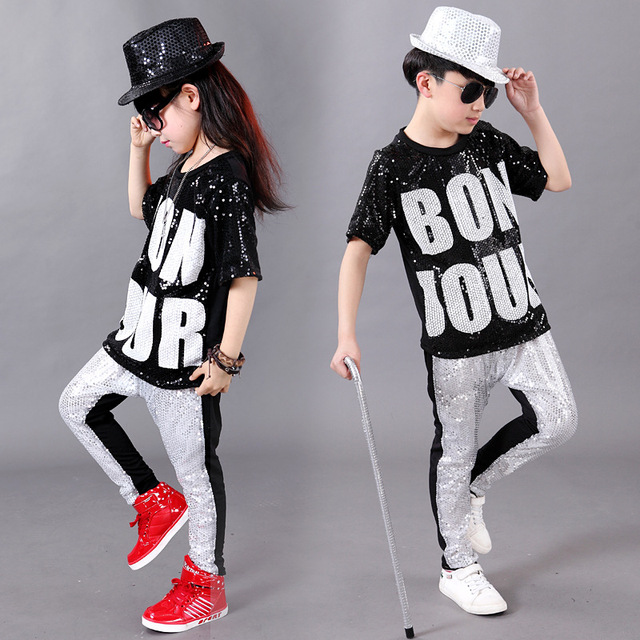 Conjuntos de ropa de actuación Hip Hop niños niñas Jazz modernos trajes de baile  niños lentejuelas cc53bf4500f