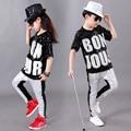 Rendimiento Que Arropan Las Muchachas de los niños Hip Hop Jazz Danza Moderna Trajes Kids Lentejuelas Dancewear Trajes