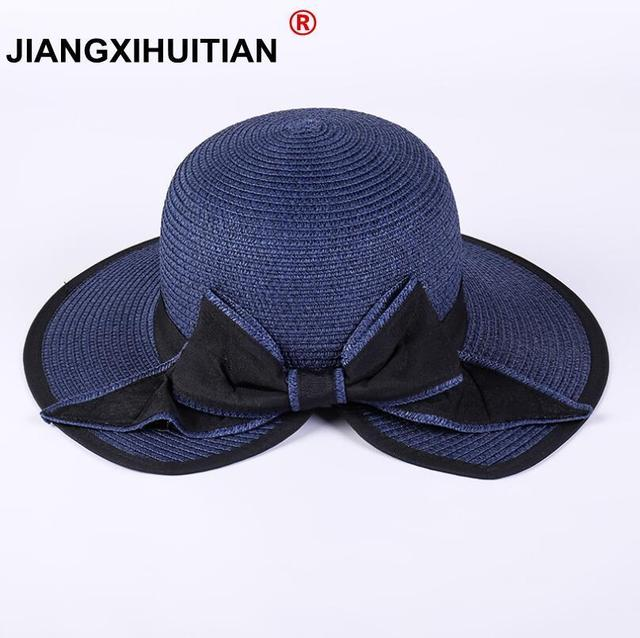 650924d992b 2018 Women s Sun Hat Big Bow Wide Brim Floppy Summer Hats For Women Beach  Panama Straw