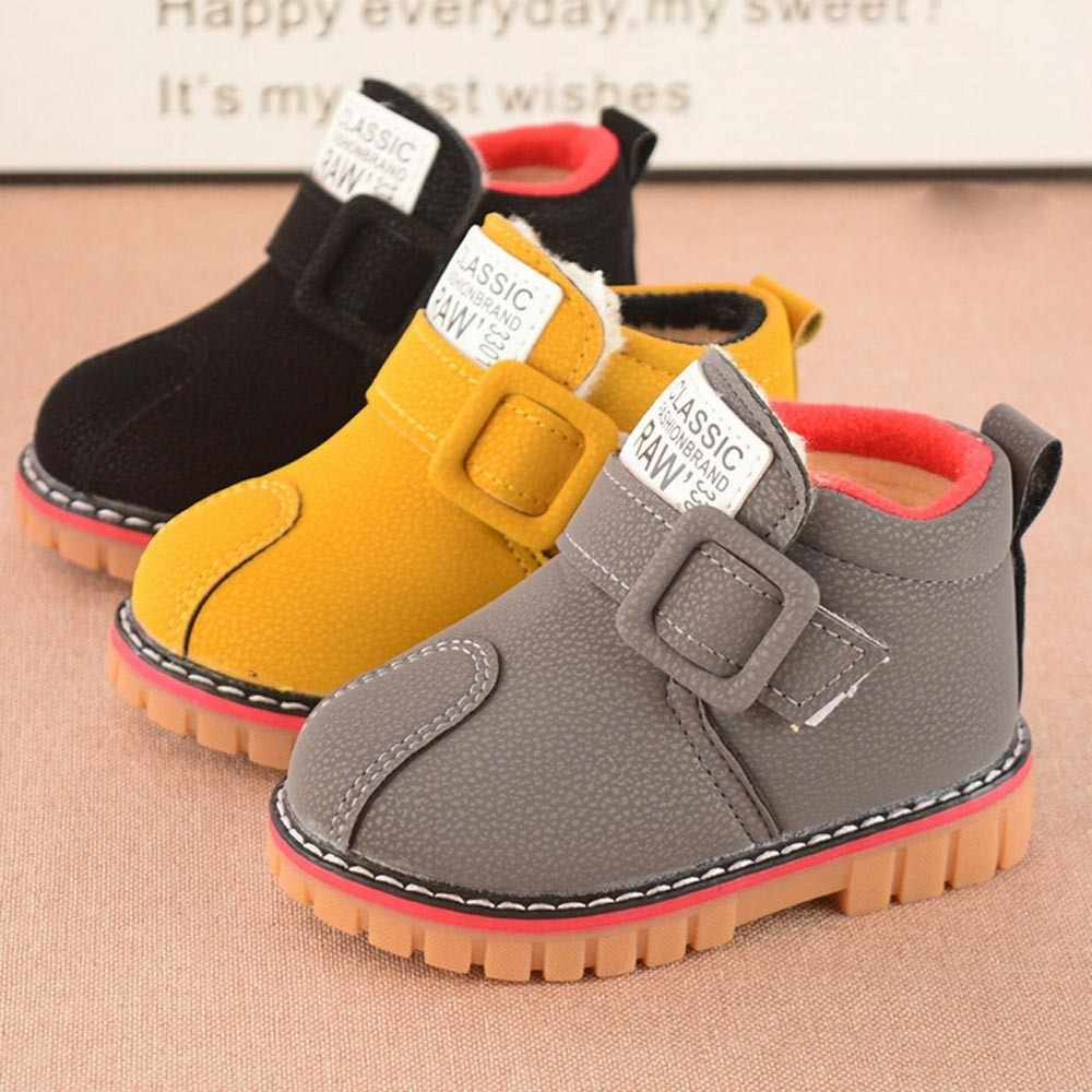 baby winter shoes Warmbaby girls booties Leather snow shoes Martin Short girls boots Shoes Dropshipping Ship from US