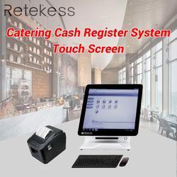 RETEKESS z wyżywieniem we własnym zakresie kasa fiskalna systemu TD176 podwójne screenTouching wszystko w jedno urządzenie TD022 czarny drukarka termiczna dla restauracji Pagery Telefony komórkowe i telekomunikacja -