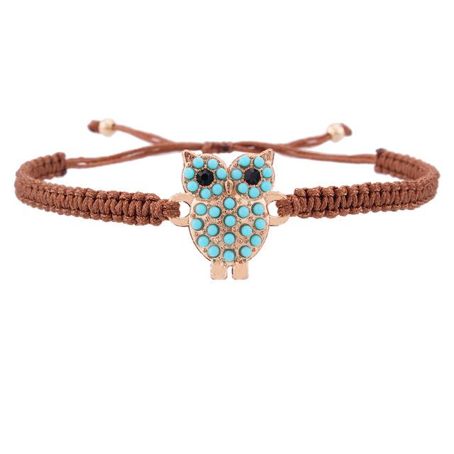 Creative blue stone wise owl Braided charm bracelet
