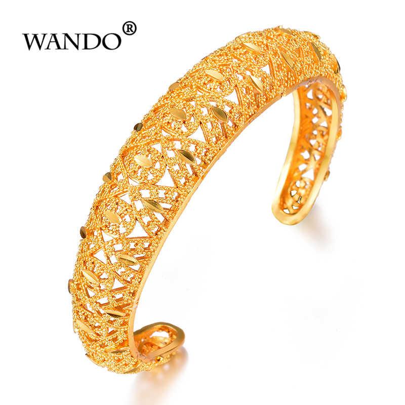Wando Браслет-манжета и браслеты с арабским цветком золотого цвета для женщин и мужчин оптовая продажа свадебных браслетов винтажная Этническая бижутерия