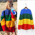 New autumn women sweaters cute rainbow sweater for girls casual pullover women pull femme loose sweater coats abrigos mujer