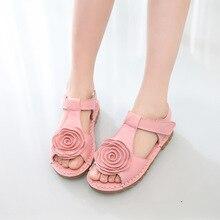 La première couche de sandales en cuir Coréenne filles fleur filles gros doux fond sandale chaussures 2016 été nouvelle marée