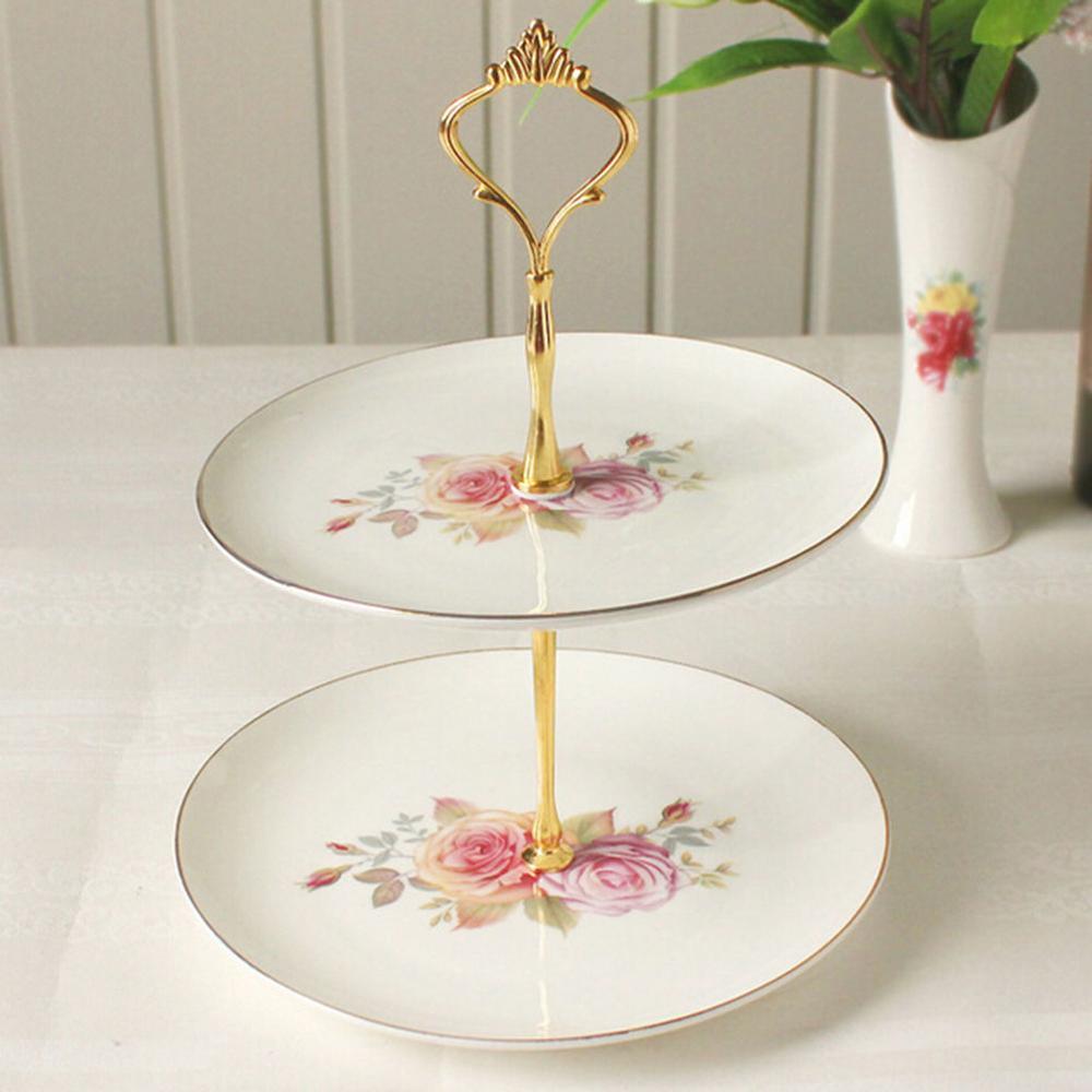 Новинка, 6 цветов, 2 или 3 яруса для торта, пластина, подставка, ручка, корона, металлическая, для свадебной вечеринки, серебро, золото, быстрая - Цвет: 2 tie gold