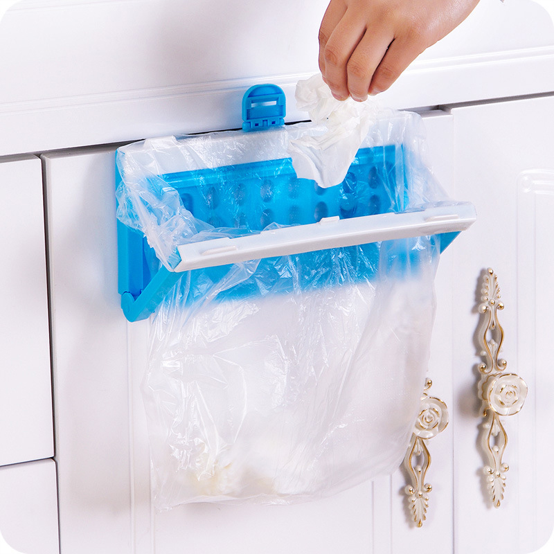 Folding Trash Bag Storage Rack Hanging Cupboard Plastic Trash Bag Holder Kitchen Garbage Hang Rack Kitchen Accessories Supply 40