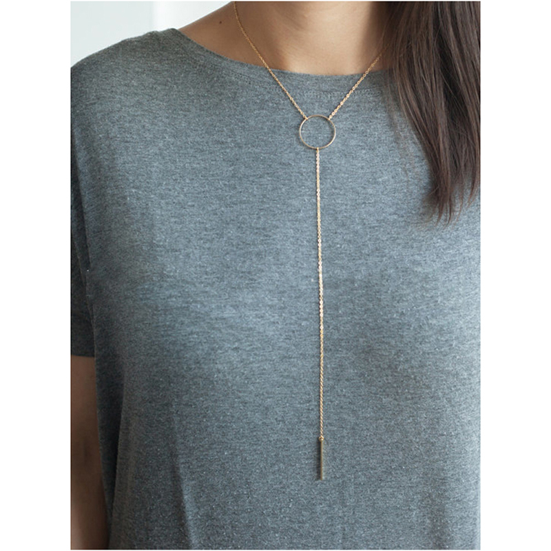 Fashion Choker Jewelry Women Long Circle Stick Necklace Pendant On Neck Accessories Women jewellery gold for neck N030