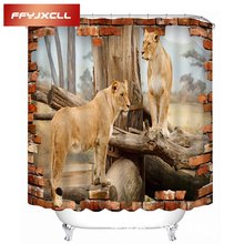 Lion Dog Horse Zebra Animal Printing Polyester Fabric Waterproof Mildew Multiple Sizes Bathroom Shower Curtain With 12pc Hook цена в Москве и Питере