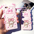 2016 new Cute Hello kitty My Melody Bow case Soft Cartoon Silicon cover for iPhone 6 6S 6plus 6Splus 7 7plus