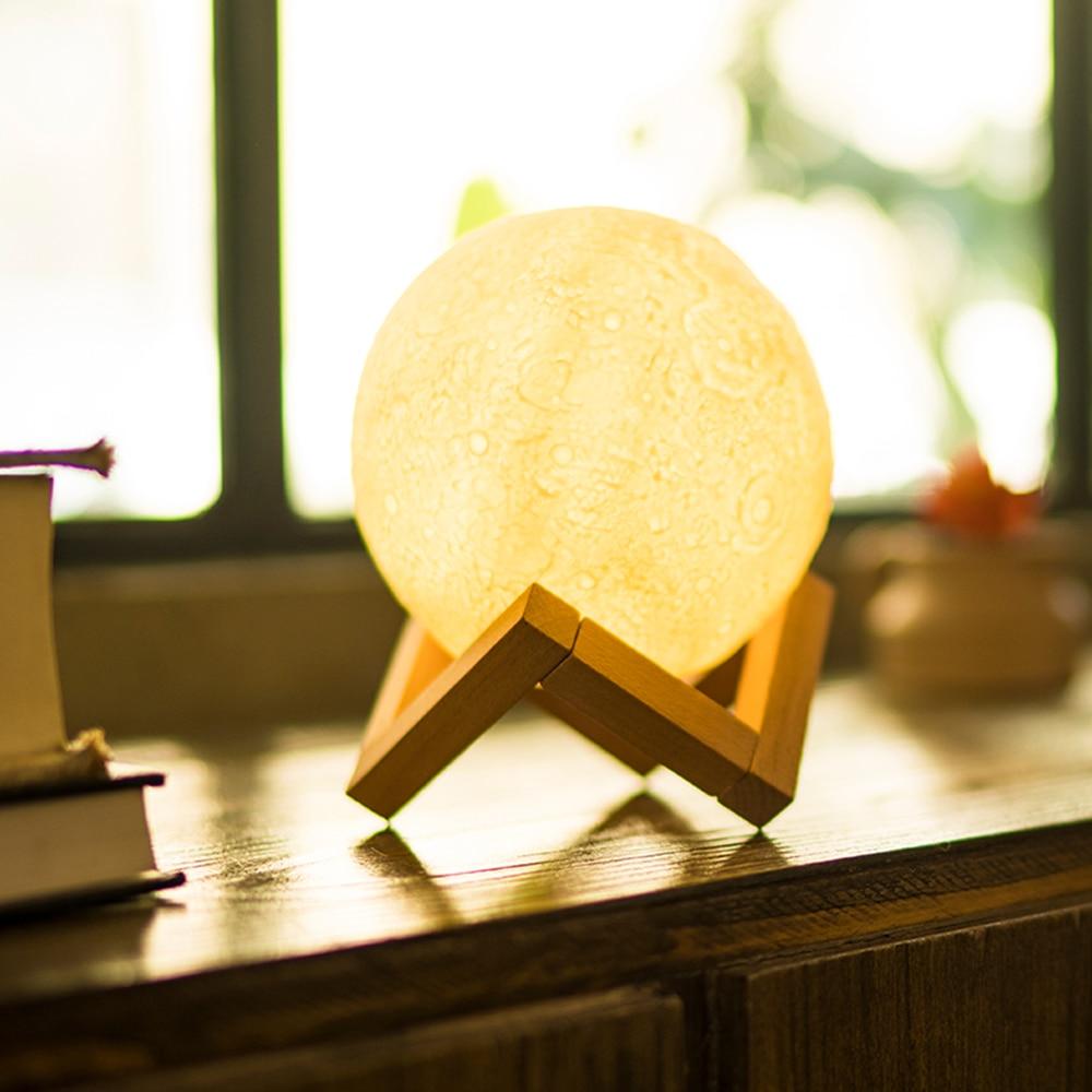 14cm LED 3D Moon Light Decorative Lamp USB Night Light Pat Button Control 3 Color Changing Bedroom Decor Moonlight Night Lamp